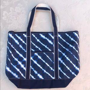 Lands' End Large Zip Top Blue Tie-Dye Canvas Bag